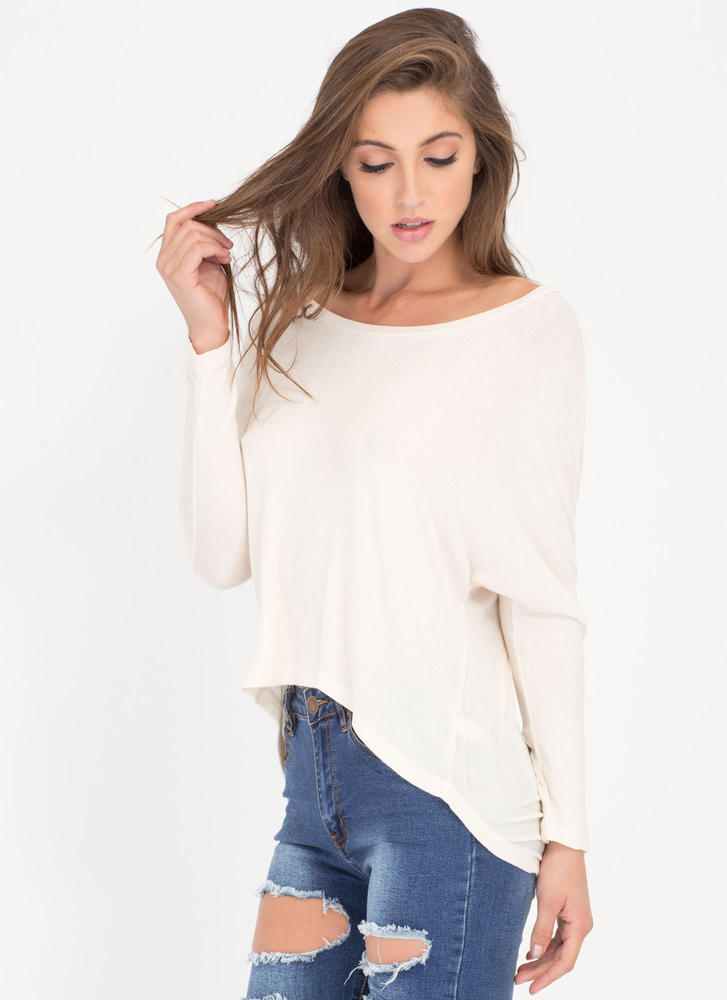 Solid Foundation High-Low Dolman Top IVORY