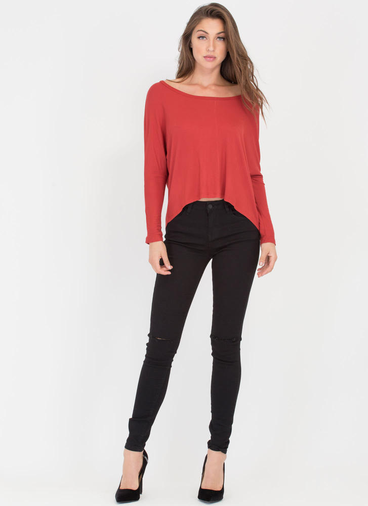 Solid Foundation High-Low Dolman Top RUST