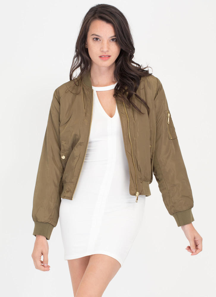 Padding Your Stats Bomber Jacket OLIVE