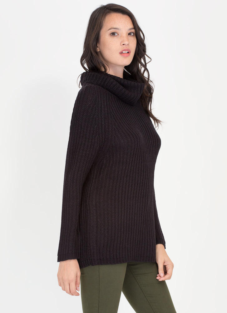 Having A Cowl Neck Knit Sweater BLACK