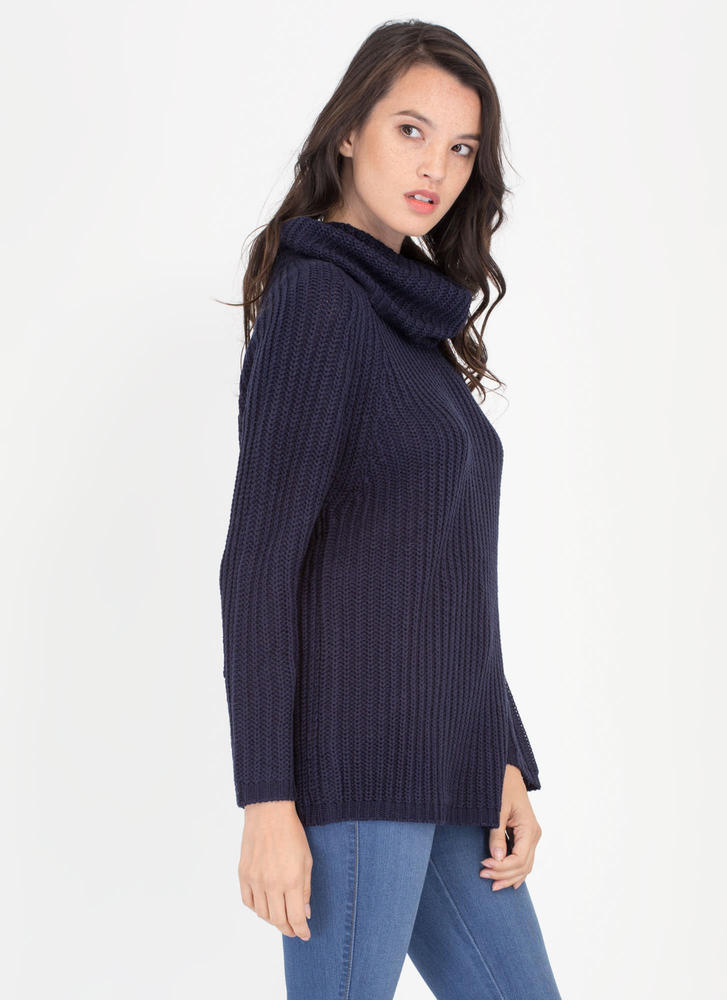 Having A Cowl Neck Knit Sweater NAVY