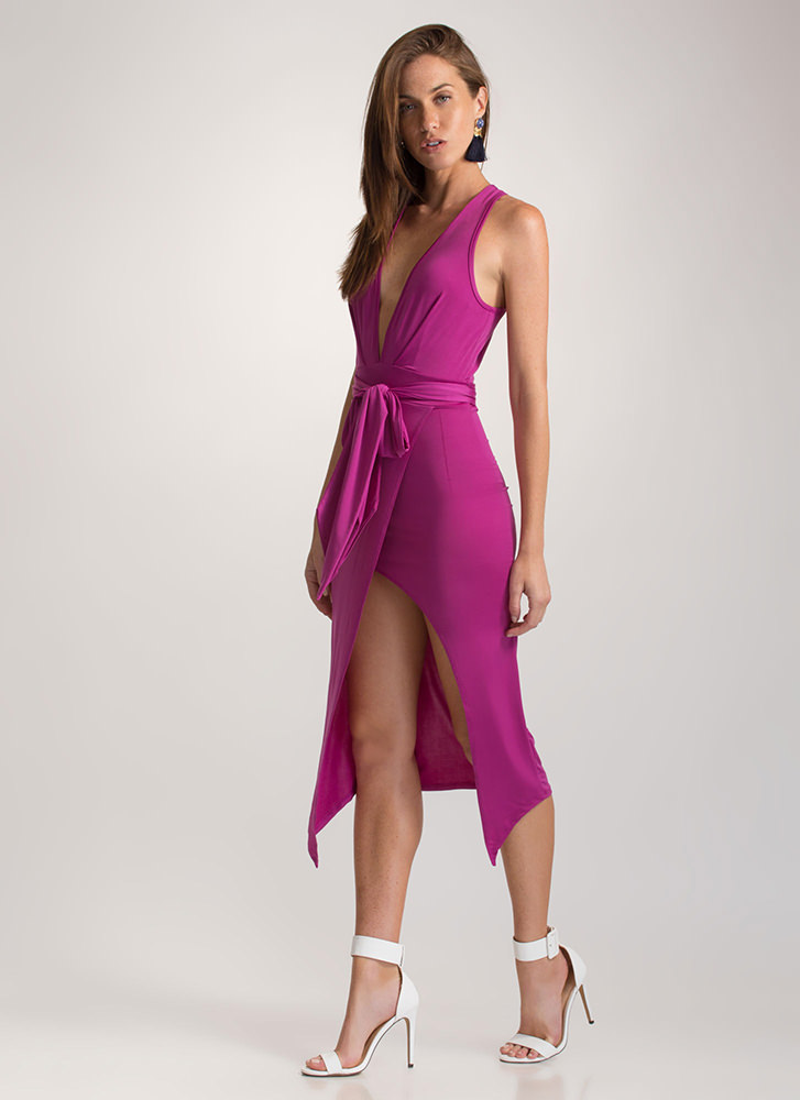 Double Date Plunging Tied Midi Dress PURPLE
