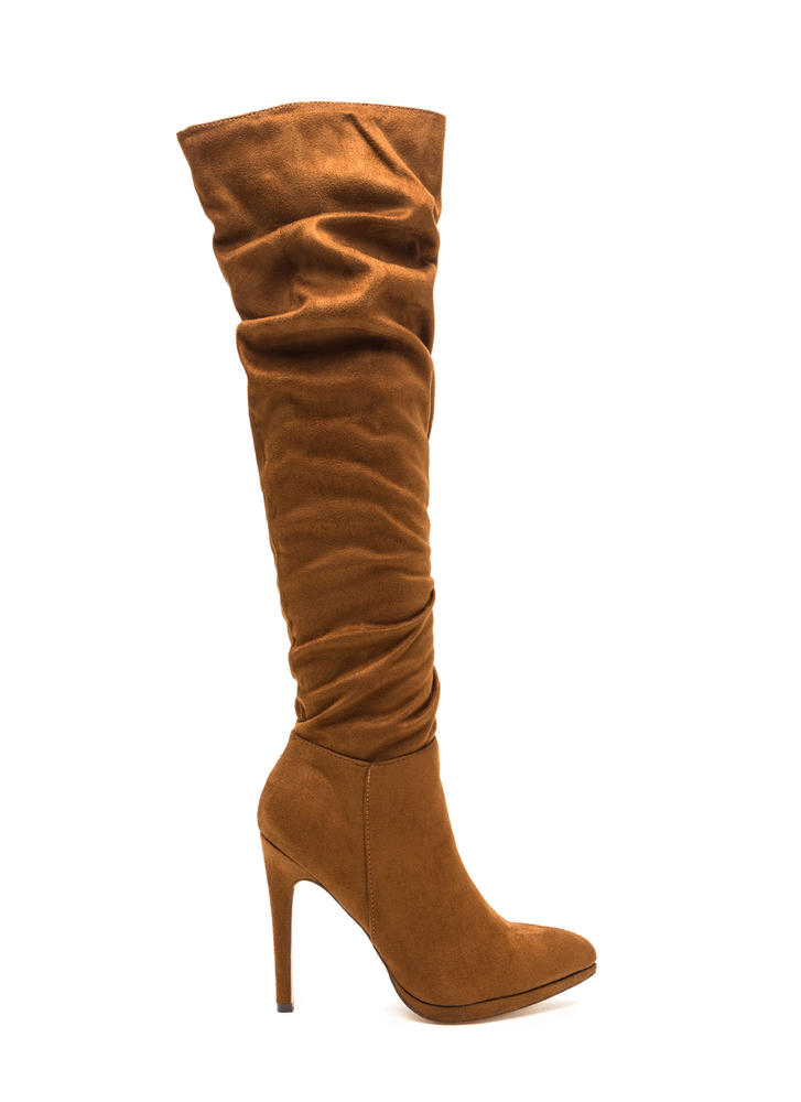 VIP Ticket Slouchy Thigh-High Boots TAN (Final Sale)