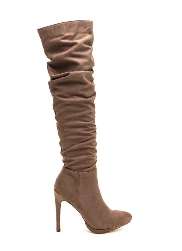 VIP Ticket Slouchy Thigh-High Boots TAUPE (Final Sale)