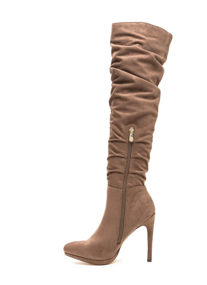vip ticket slouchy thigh high boots taupe gojane