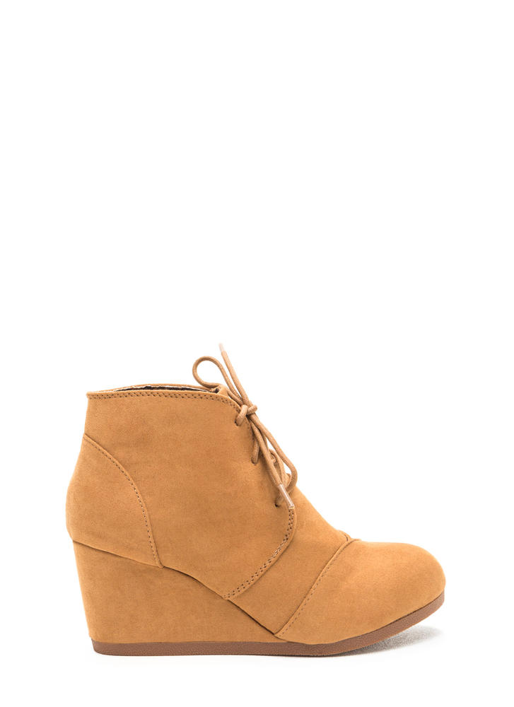 It Girl Faux Suede Wedge Booties