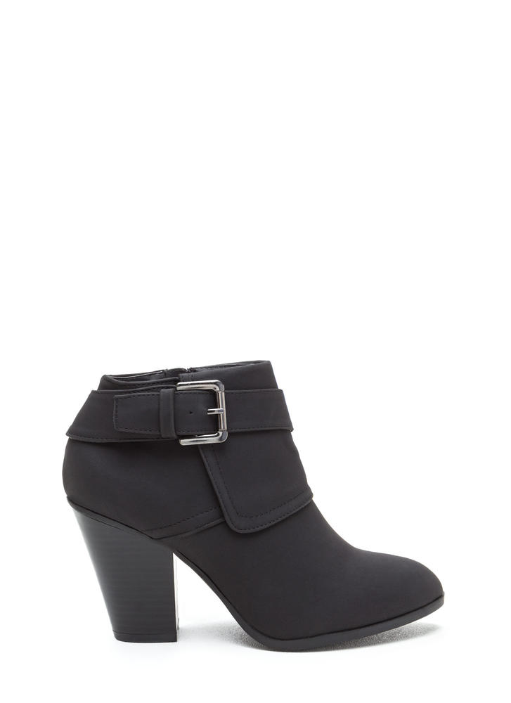 Buckle Down Chunky Faux Nubuck Booties BLACK