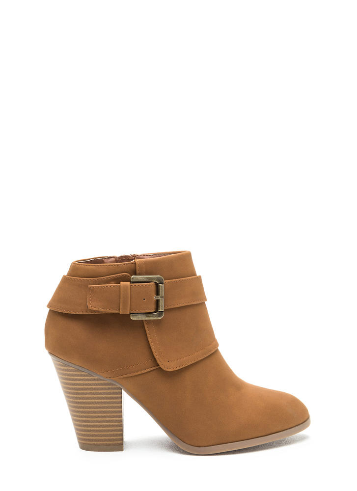 Buckle Down Chunky Faux Nubuck Booties