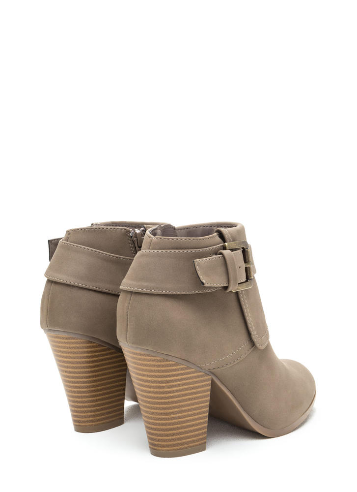 Buckle Down Chunky Faux Nubuck Booties TAUPE