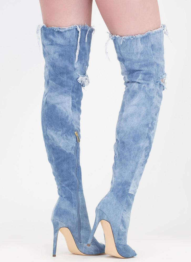 Distress Signal Denim Thigh-High Boots BLUE