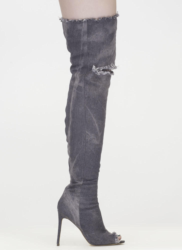 Distress Signal Denim Thigh-High Boots GREY