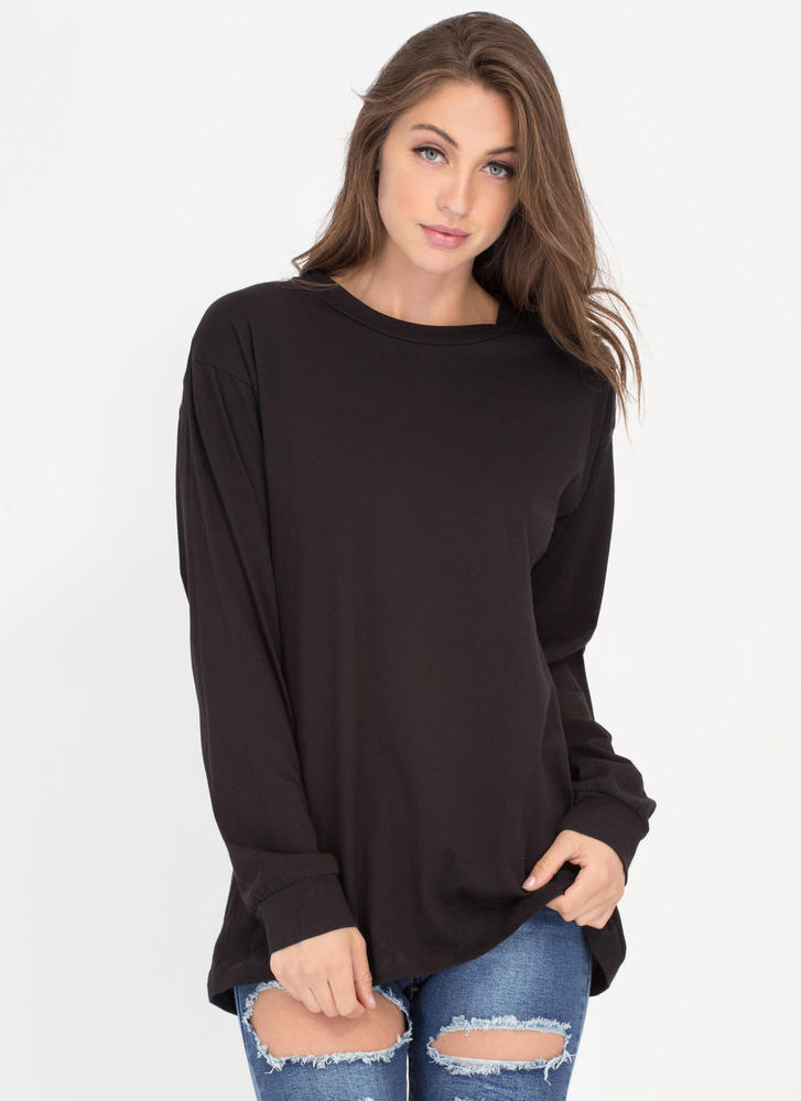 Easy Does It Oversized Long-Sleeve Top