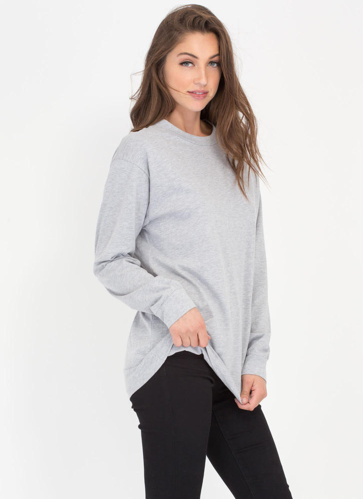 Easy Does It Oversized Long-Sleeve Top HGREY