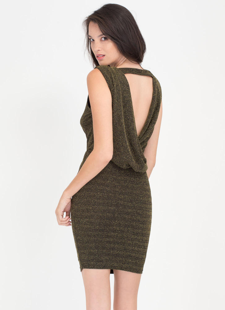 Ready To Sparkle Draped Back Dress GOLD