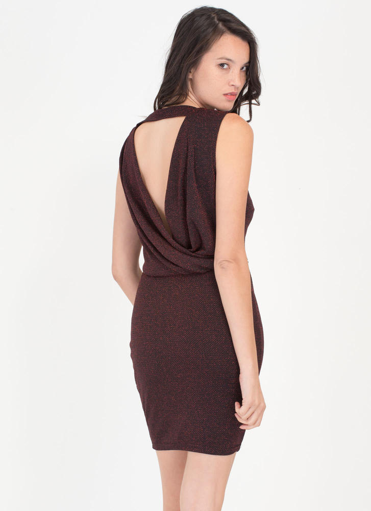 Ready To Sparkle Draped Back Dress RED