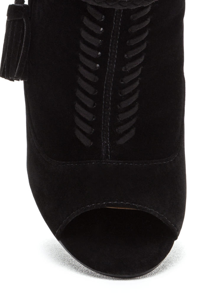 Cuff Enough Woven Chunky Booties BLACK