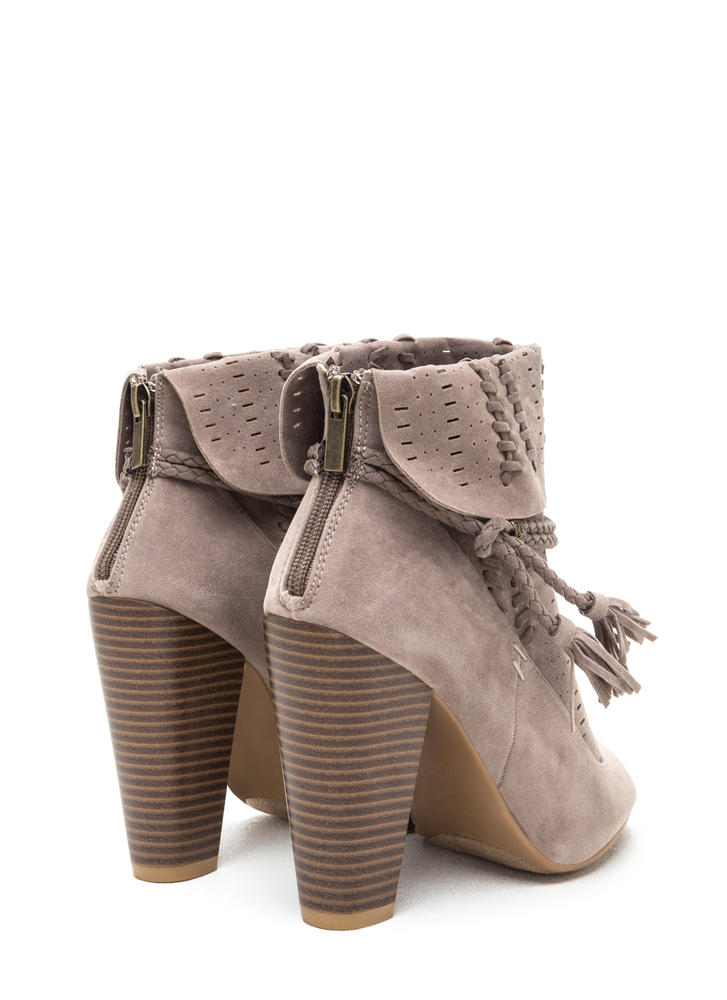 Cuff Enough Woven Chunky Booties TAUPE