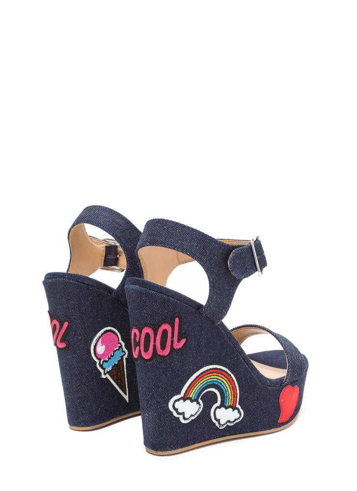 Patch Maker Denim Platform Wedges DKBLUE
