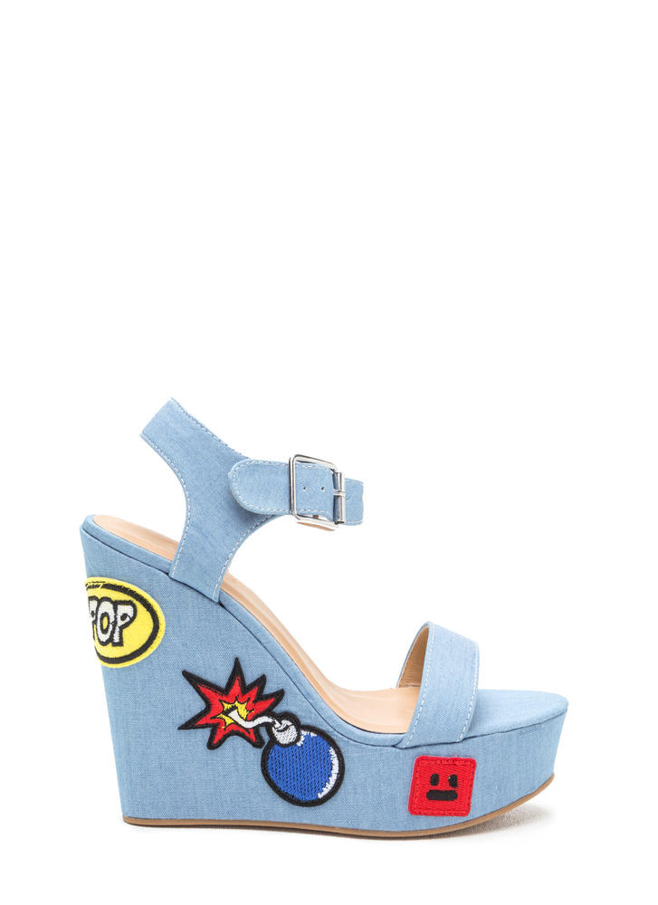 Patch Maker Denim Platform Wedges LTBLUE
