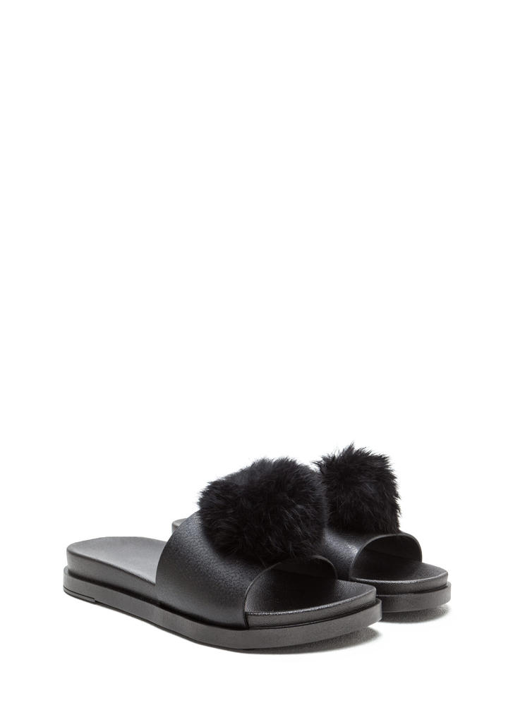 Fur Sure Pom-Pom Jelly Slide Sandals BLACK