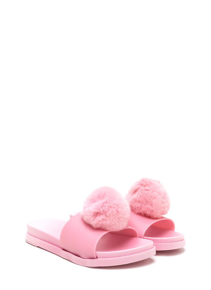 Fur Sure Pom-Pom Jelly Slide Sandals PINK