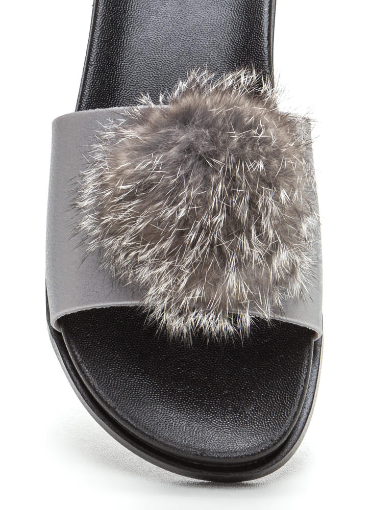 Fur Sure Pom-Pom Jelly Slide Sandals TAUPE