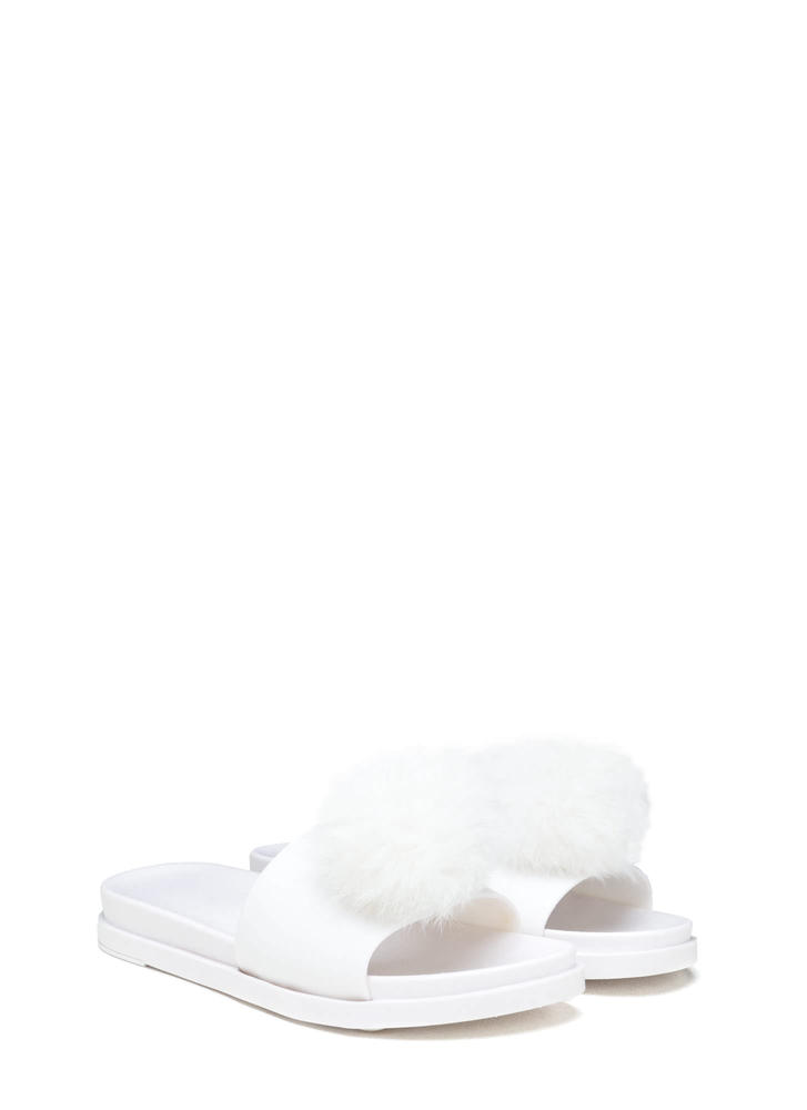 Fur Sure Pom-Pom Jelly Slide Sandals WHITE