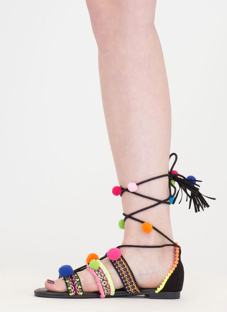 Shake Your Pom-Poms Lace-Up Sandals BLACK