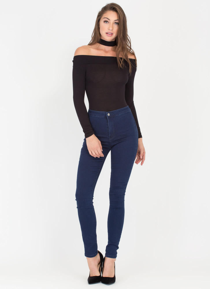 Off-Shoulder Show Choker Bodysuit BLACK