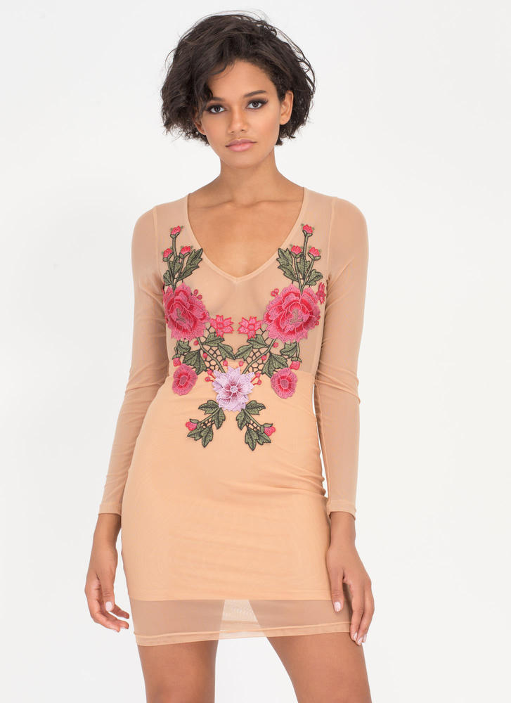 Flowers In Front Sheer Mesh Dress