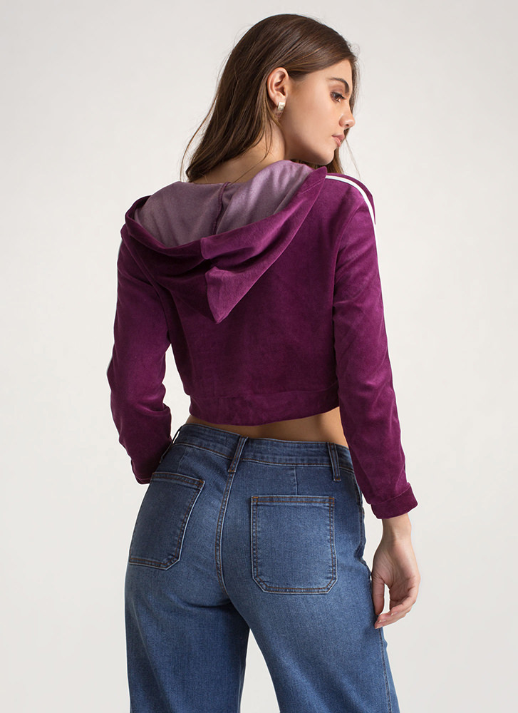 Good Sport Lace-Up Velvet Hoodie PURPLE