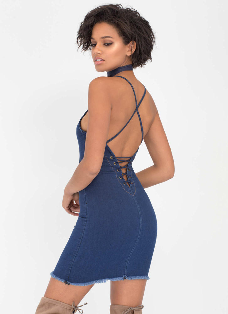 Haute Spot Lace-Back Denim Minidress