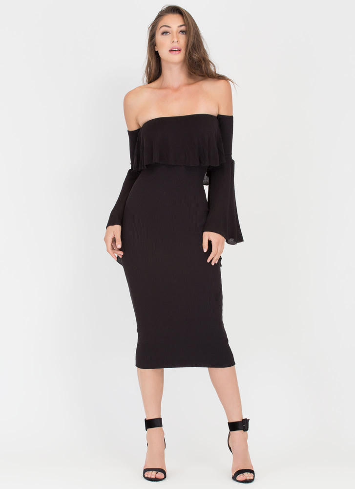 Retro Romance Ribbed Off-Shoulder Dress