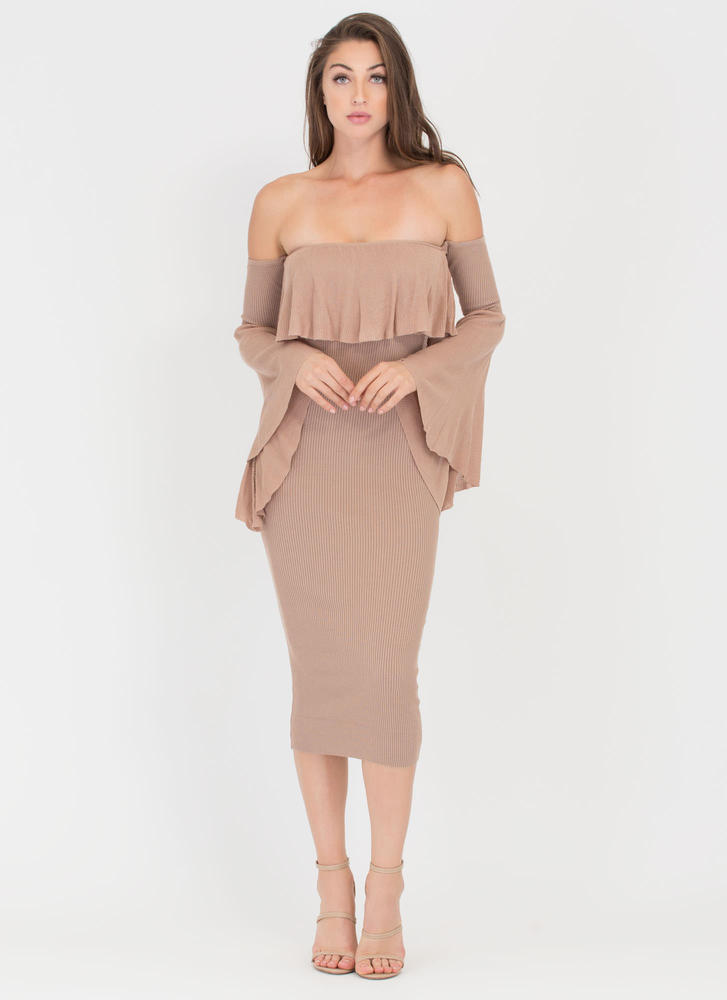 Retro Romance Ribbed Off-Shoulder Dress TAUPE