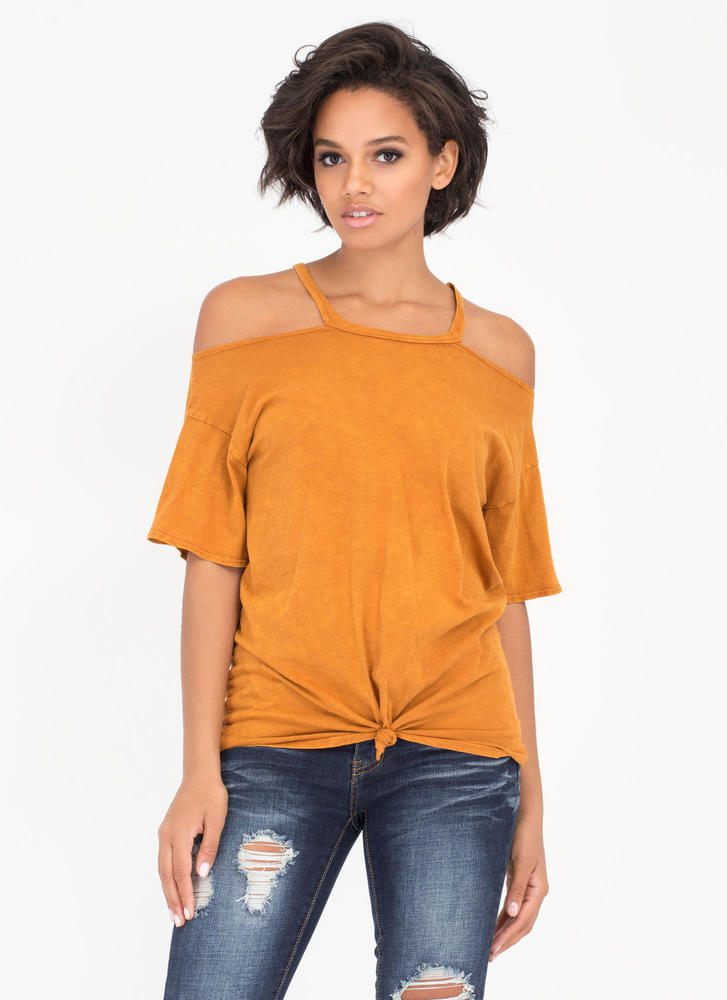 Ready Or Knot Cold Shoulder Top
