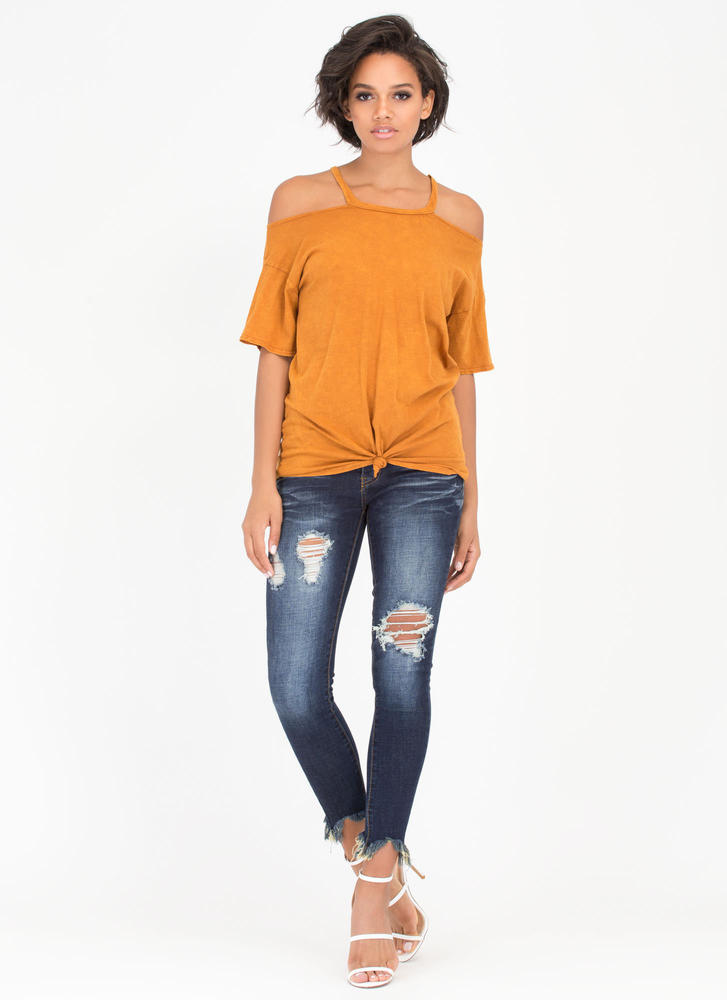 Ready Or Knot Cold Shoulder Top MUSTARD