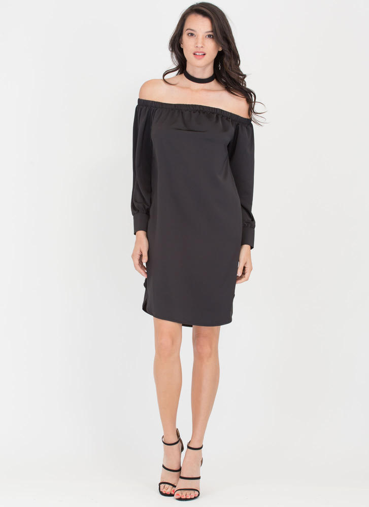Just Flow Off-Shoulder Shift Dress