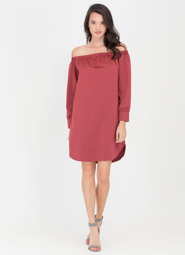 Just Flow Off-Shoulder Shift Dress BURGUNDY