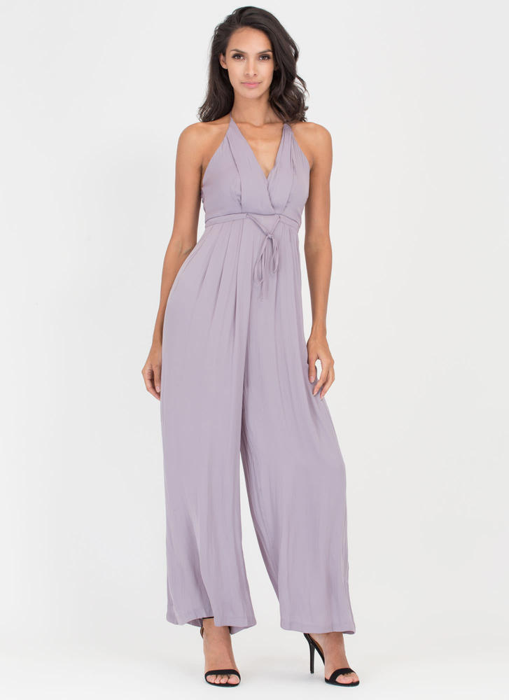 Clean Sweep Surplice Palazzo Jumpsuit