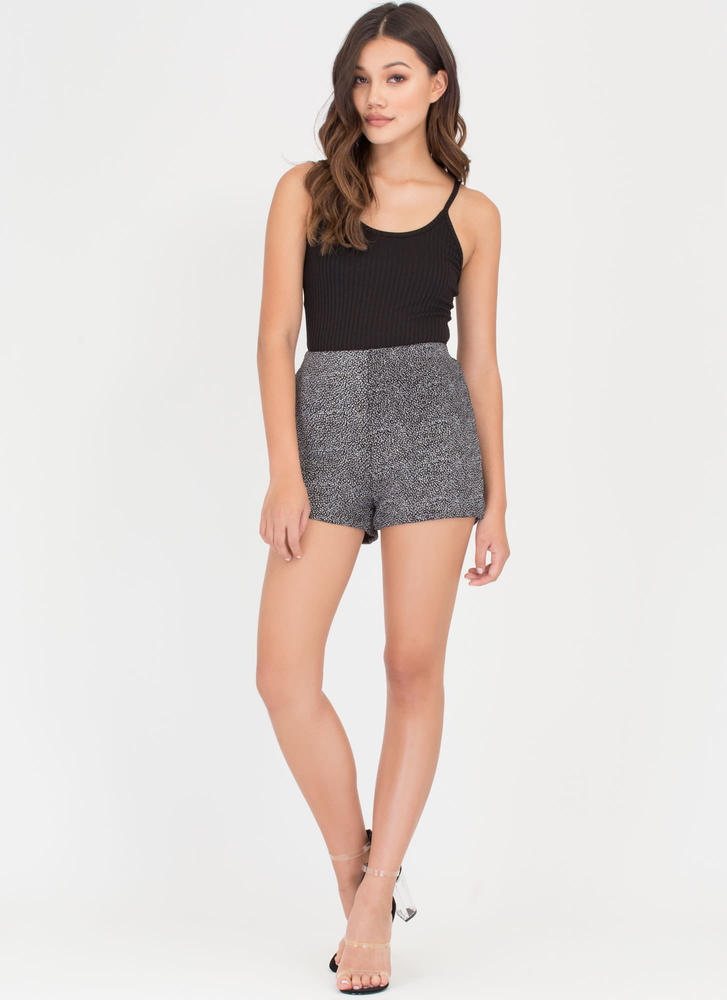Shining Star Sparkly Speckled Shorts GUNMETAL