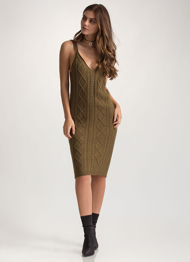 Cable Knit Me Up Midi Tank Dress OLIVE