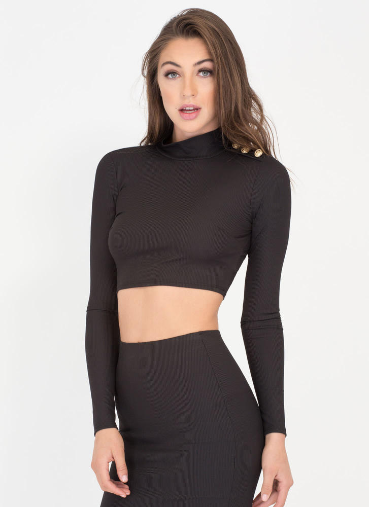 In Command Ribbed Mockneck Crop Top BLACK (Final Sale)