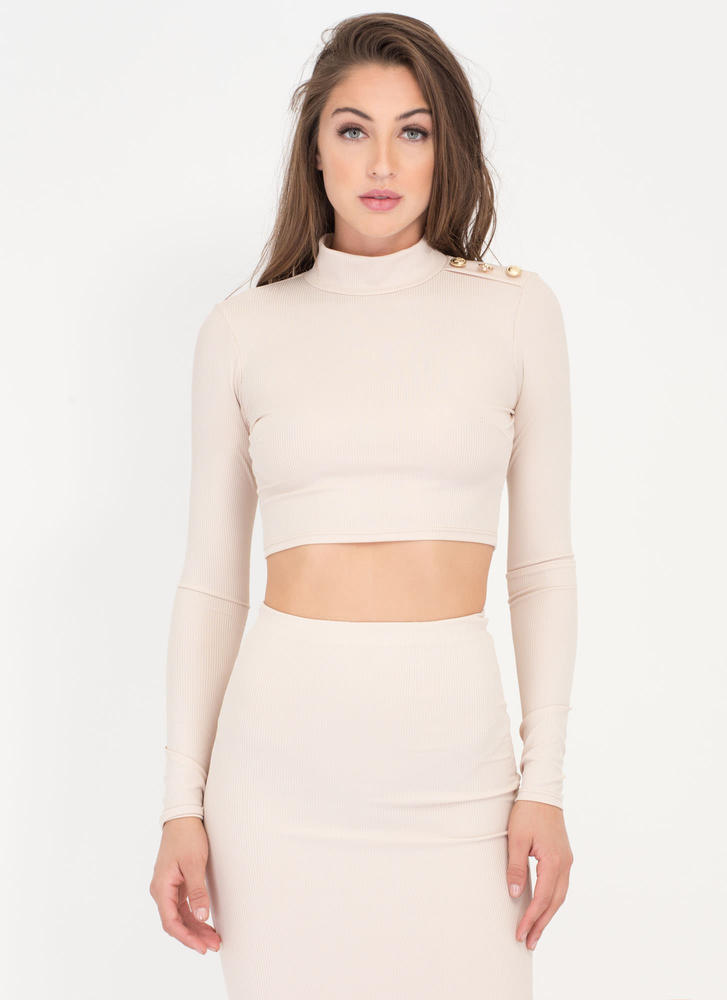 In Command Ribbed Mockneck Crop Top TAUPE