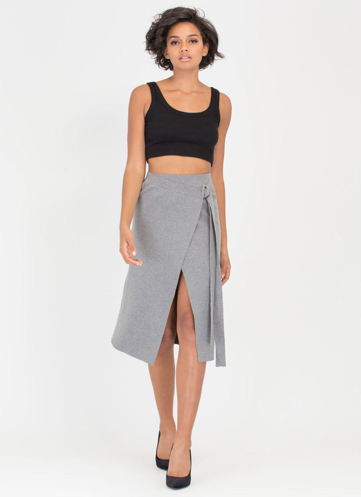 Wrap Battle Knit 'N Knotted Maxi Skirt GREY (Final Sale)