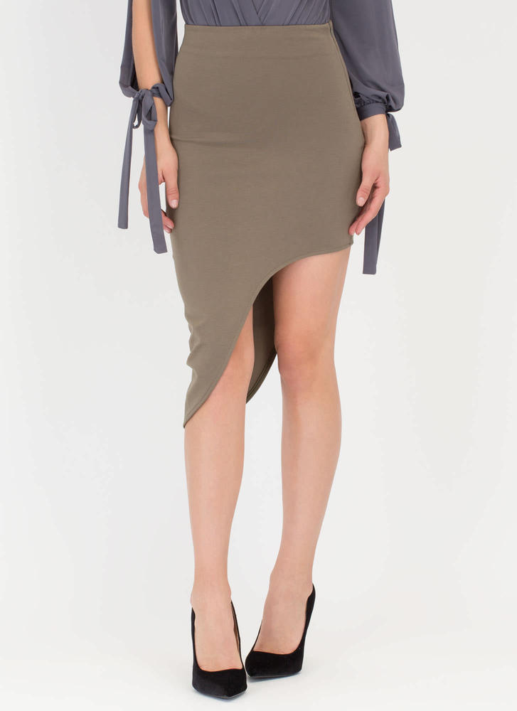 Curves And More Curves High-Low Skirt OLIVE
