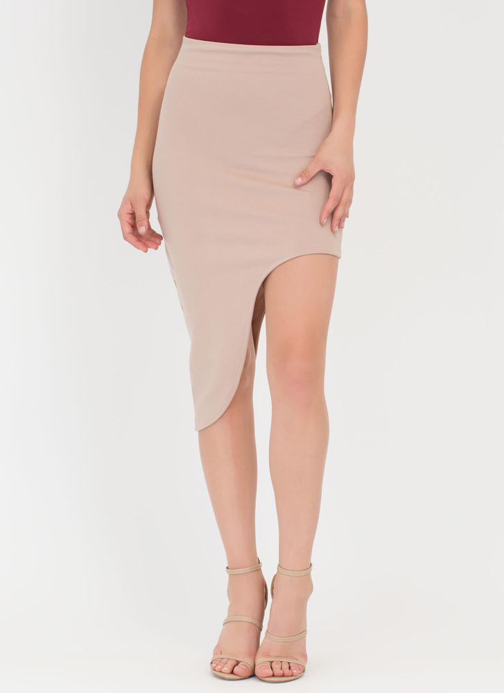 Curves And More Curves High-Low Skirt TAUPE