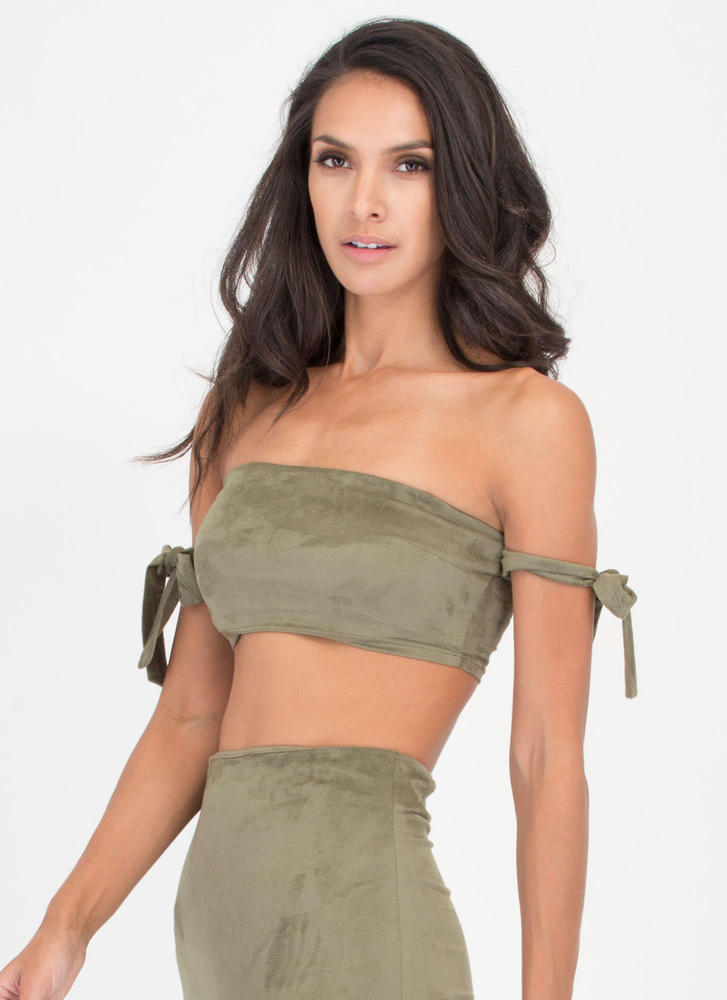 Soft Opening Faux Suede Bandeau Top OLIVE