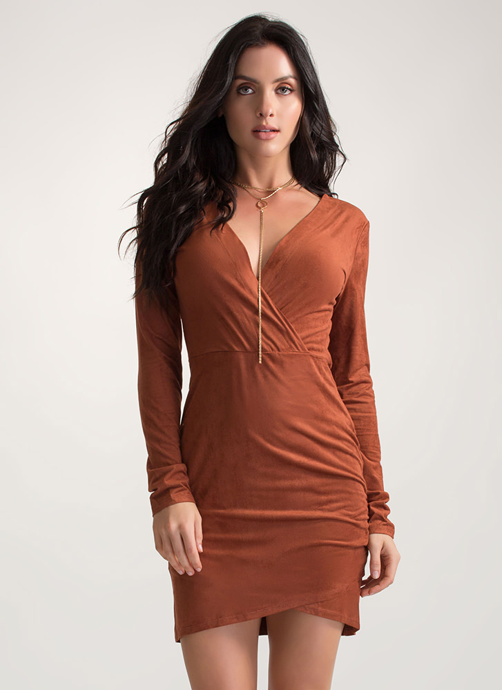 Soft Touch Faux Suede Tulip Hem Dress RUST