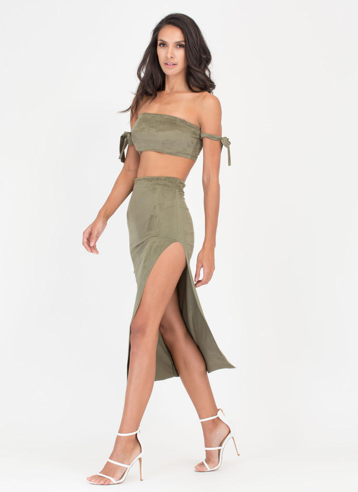 Soft Opening Slit Faux Suede Skirt OLIVE