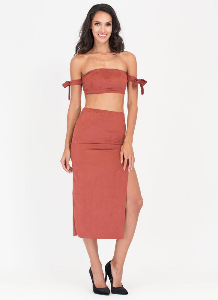 Soft Opening Slit Faux Suede Skirt RUST
